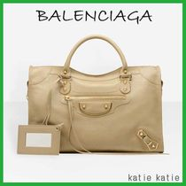 BALENCIAGA CITY Sable (Beige) Goatskin Classic Metallic Edge Handbag