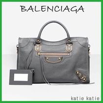BALENCIAGA CITY Gris Acier (Grey) Classic Metallic Edge Handbag
