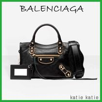 BALENCIAGA CITY Black Goatskin Classic Metallic Edge Mini Crossbody Bag