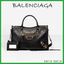 BALENCIAGA CITY Black Goatskin Classic Metallic Edge City S Handbag