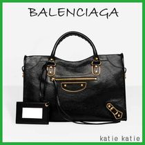 BALENCIAGA CITY Black Goatskin Classic Metallic Edge Handbag