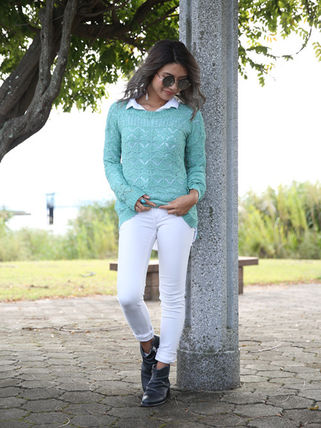 More Knitwear Cable Knit Casual Style U-Neck Long Sleeves Medium Knitwear 2