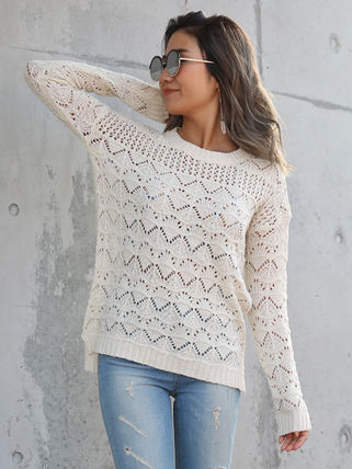 More Knitwear Cable Knit Casual Style U-Neck Long Sleeves Medium Knitwear 9