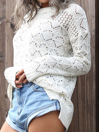 More Knitwear Cable Knit Casual Style U-Neck Long Sleeves Medium Knitwear 15