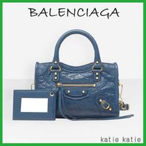 BALENCIAGA CITY Deep Blue Lambskin Classic New Gold Handbag