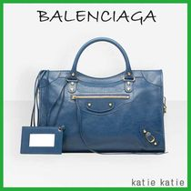 BALENCIAGA CITY Deep Blue Lambskin Classic Gold Handbag