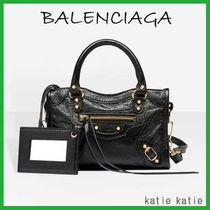BALENCIAGA CITY Black Lambskin Classic Gold Nano Mini Bag