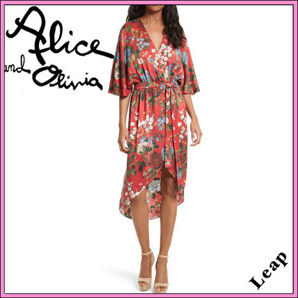 Alice+Olivia Wrap Dresses Flower Patterns Casual Style Silk V-Neck Medium
