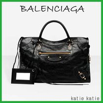 BALENCIAGA CITY Black Lambskin Classic Gold Handbag