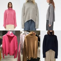 CELINE Cashmere Long Sleeves Plain Medium High-Neck Elegant Style