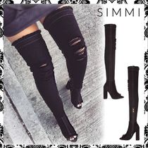 SIMMI Open Toe Plain Block Heels Over-the-Knee Boots