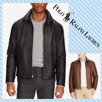 POLO RALPH LAUREN Short Plain Leather Biker Jackets