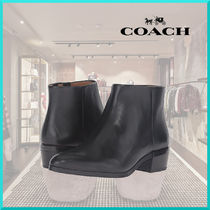 Coach Casual Style Plain Leather Block Heels Ankle & Booties Boots