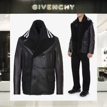 GIVENCHY Short Plain Leather Peacoats Coats