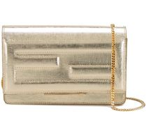 FENDI Metallic Tube Wallet On Chain / Gold