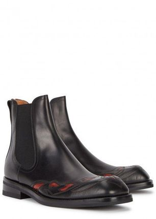 Flower Patterns Leather Chelsea Boots Chelsea Boots