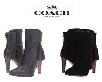 Coach Plain Toe Casual Style Plain Leather Pin Heels