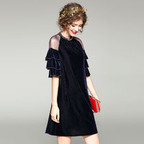 Short A-line Plain Short Sleeves With Jewels Dresses