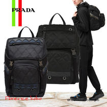 PRADA V135 Unisex Nylon A4 2WAY Bi-color Backpacks