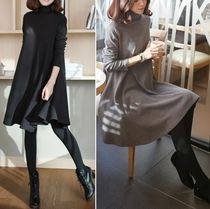 Flared Long Sleeves High-Neck Dresses