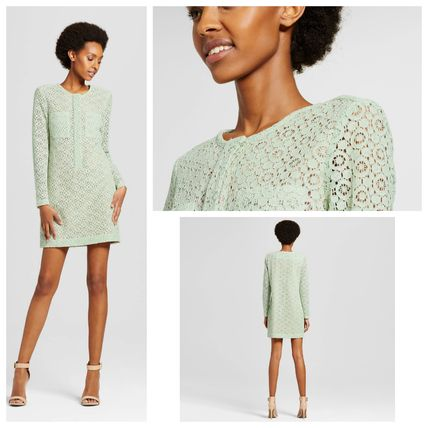 Crew Neck Short Long Sleeves Lace Elegant Style Dresses
