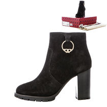 Tory Burch Round Toe Leather Block Heels Ankle & Booties Boots