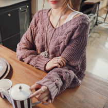 Cable Knit Casual Style Street Style V-Neck Knitwear