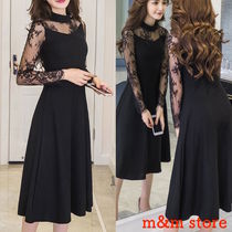 Flower Patterns Flared Long Sleeves Medium High-Neck Lace