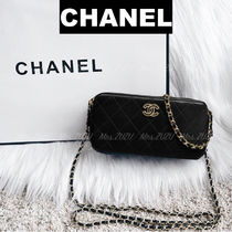 CHANEL CHAIN WALLET Lambskin 3WAY Chain Party Style Clutches