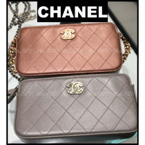 CHANEL CHAIN WALLET Lambskin 3WAY Party Style Clutches