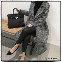NANING9 Glen Patterns Wool Long Elegant Style Chester Coats