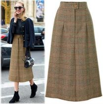 Pencil Skirts Other Check Patterns Casual Style Wool Long