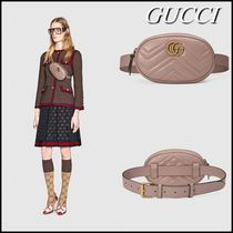 GUCCI GG Marmont Beige Chevron GG Marmont Matelasse Leather Belt Bag