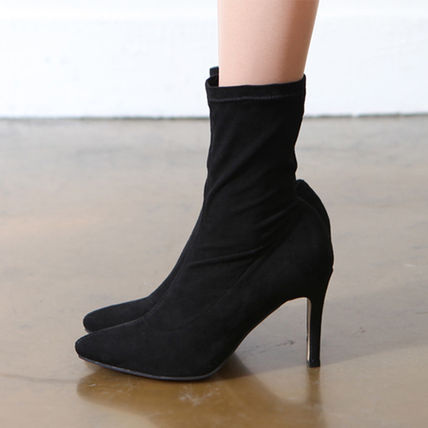 Ankle & Booties Casual Style Suede Plain Pin Heels Ankle & Booties Boots 3