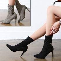Suede Plain Pin Heels Ankle & Booties Boots