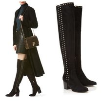 Jimmy Choo Plain Toe Suede Plain Block Heels Over-the-Knee Boots
