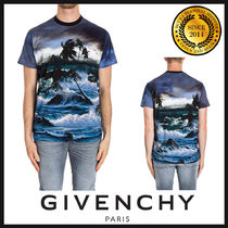 GIVENCHY Crew Neck Pullovers Tropical Patterns Street Style Cotton