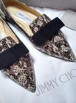 Jimmy Choo Leather Python Elegant Style Pointed Toe Shoes