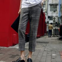 Other Check Patterns Casual Style Medium Short Length Pants