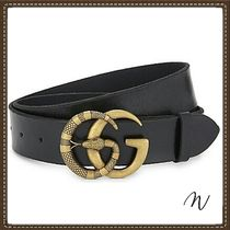 GUCCI GG Marmont Black Leather Gold Plated Snake Head Double G Belt