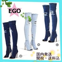 EGO Open Toe Plain Pin Heels Elegant Style Over-the-Knee Boots