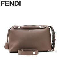 FENDI BY THE WAY Regular Boston Bag With Studded Tail / Brown
