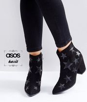 ASOS Star Casual Style Faux Fur Block Heels Ankle & Booties Boots