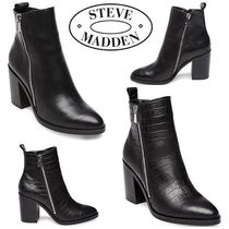 Steve Madden Plain Toe Plain Leather Block Heels Ankle & Booties Boots