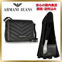 ARMANI JEANS Plain PVC Clothing Elegant Style Shoulder Bags