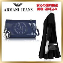 ARMANI JEANS Unisex 2WAY Plain PVC Clothing Elegant Style Shoulder Bags