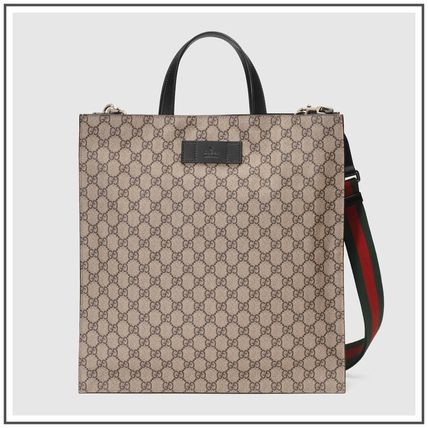 Beige/Ebony Soft GG Supreme Tote With Green&Red Web Strap