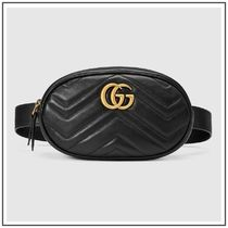 GUCCI GG Marmont Black GG Marmont Matelasse Leather Belt Bag With Gold GG
