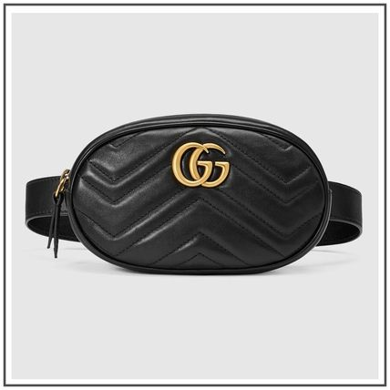 74422ab78421 ... GUCCI More Bags Black GG Marmont Matelasse Leather Belt Bag With Gold  GG ...
