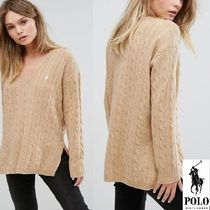POLO RALPH LAUREN Casual Style Wool Blended Fabrics V-Neck Long Sleeves Plain